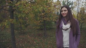 Young pretty woman walking in the autumn forest stock video footage