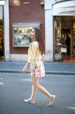 Young pretty woman walking for shopping in the city Royalty Free Stock Photos