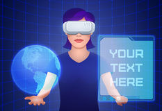 Young pretty woman wearing virtual reality headset controls imaginary interface. Young pretty woman wearing virtual reality headset or 3d glasses controls Royalty Free Stock Images