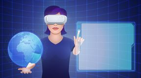 Young woman wearing virtual reality headset with imaginary globe. Young pretty woman wearing virtual reality headset or 3d glasses with imaginary globe and empty Stock Images