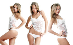 Young pretty  woman in white lingerie Royalty Free Stock Photos