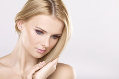 Young Pretty Woman With Beautiful Blond Hairs Stock Image