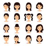Young pretty women pretty faces with different hairstyles vector illustration