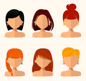 Young pretty women, pretty faces with different hairstyles, hair color. flat design stock illustration
