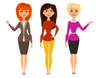 Young pretty women in smart office clothes vector illustration