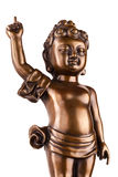 Young prince Siddhartha Gautama. The figure made of metal isolated on a white background royalty free stock photos