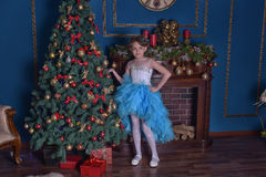 Young princess in a blue dress. Next to a Christmas tree stock photos