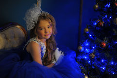 Young princess in a blue evening dress Stock Images