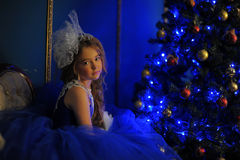 Young princess in a blue evening dress Royalty Free Stock Photos
