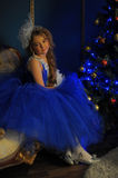 Young princess in a blue evening dress Royalty Free Stock Image