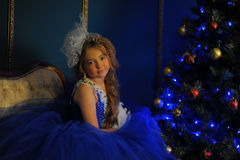 Young princess in a blue evening dress Stock Image