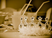 Young princess crown. Sepia retro style photo Stock Images