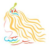 Young princess with long blond hair and colorful crown stock illustration