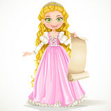 Young princess with long hair in pink dress holding parchment Royalty Free Stock Images