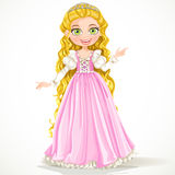 Young princess with long hair in pink dress Royalty Free Stock Photos