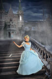 Young Princess Losing Shoe on Stairs. Beautiful young princess losing shoe on stairs during foggy night Stock Images