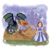 Young princess and magic dragon Stock Photos