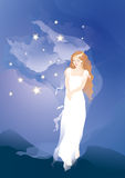 Young princess in the magic night. Young princess on the meadow in the magic night royalty free illustration