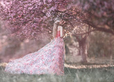 A young princess. Walks in a blooming garden. Girl in a luxurious pink dress with a train. Fashionable toning Royalty Free Stock Photos