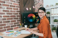Young professional artist woman drawing work royalty free stock photos