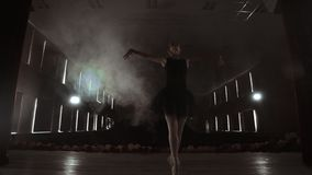 Young professional ballerina making circular movements on stage. Beautiful girl dancing in spotlights in evening during. Dress rehearsal stock footage