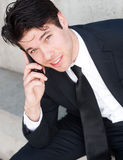 Young professional businessman on cell phone Stock Photo