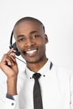 Young professional call center agent male talking Stock Photos