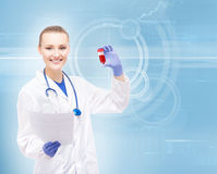 Young, professional and cheerful female doctor researcher Royalty Free Stock Photography