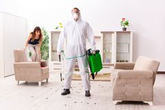 The young professional contractor doing pest control at flat stock photo