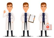 Young professional doctor, set with model of tooth, with clipboard and with first aid kit. Medical worker. Hospital staff. Cartoon character on white Stock Photo