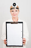 Young professional female doctor with folder Stock Photos