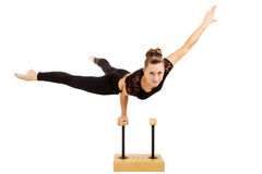 Young professional gymnast woman Stock Images