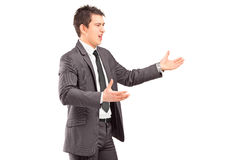 Young professional man in a suit arguing Stock Photography