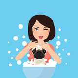 Young professional pet groomer washing dog bathing with soap. Illustration Stock Images