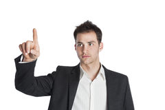 Young professional pointing in air Royalty Free Stock Image