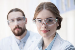 Young professional scientists royalty free stock photos