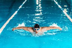 Young professional swimmer in competition swimming. Pool stock image