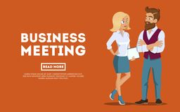 Young professional team. Business people planning meeting, conference concept. Business meeting young employees. royalty free illustration