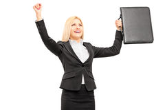 Young professional woman with briefcase gesturing happiness. Isolated on white background Royalty Free Stock Photos