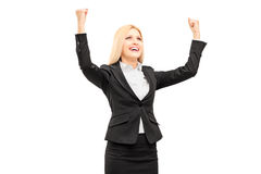 Young professional woman gesturing happiness Royalty Free Stock Images