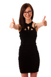 Young professional woman showing thumb up Stock Photo
