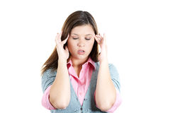 Young professional woman stressed and tired with headache Royalty Free Stock Photography