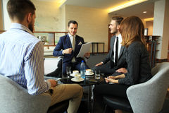 Young professionals work in modern office.Business crew working with startup. Stock Photo