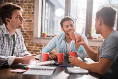 Young professionals working on business project together. Group of young professionals working on business project together stock images