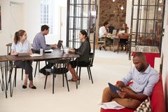 Young professionals working in an open plan office Stock Image