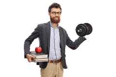 Young professor lifting a dumbbell. Isolated on white background stock images