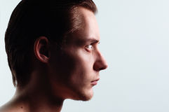 Young profile man. Young profile isolated on white background Stock Photo