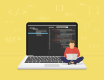 Young programmer coding a new project. Man is sitting on the big laptop and working. Flat modern illustration of young programmer coding a new project using Royalty Free Stock Photo