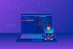 Young programmer coding a new project. Man sitting on the big laptop and working. Gradient line vector illustration of young programmer coding a new project Stock Photos