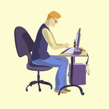 Young programmer sitting in front of his computer. Programmer sitting in front of his computer. Vector illustration Royalty Free Stock Images